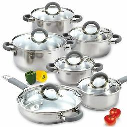 Cook N Home 02410 12 Piece Stainless Steel Cookware Set, Sil