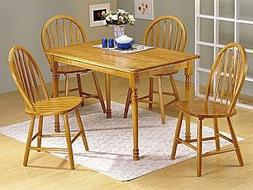 ACME 07021 Farmhouse 5-Piece Dining Set, Oak Finish