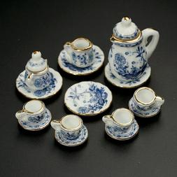 15Pcs Dining Ware Ceramic Blue Flower Set For 1:12 Dollhouse