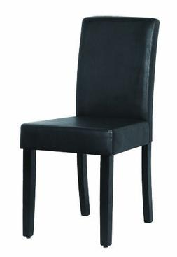 Home Life 2 Parson Leather Dining Chairs with Espresso Wood