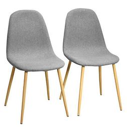 Set of 2 Dining Chairs Fabric Cushion Kitchen Side Chairs wi