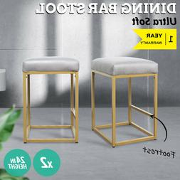 """24"""" Faux Leather Padded Seat Dining Kitchen Pub Bar Stools C"""