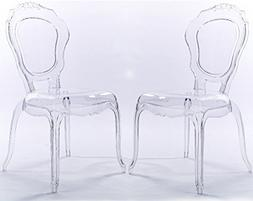 2xhome Set of Two  - Belle Style Ghost Side Chairs Dining Ro
