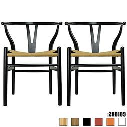 2xhome Set of 2 Black Wishbone Wood Armchair with Arms Open