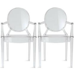 2xhome - Set of Two  Clear - Louis Style Ghost Armchair Dini