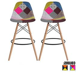 "2xhome Set of Two  - Multicolor - 26"" Seat Height Modern Uph"