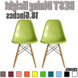 2xhome Set of Two  - Plastic Side Chair Chair Natural Wood L