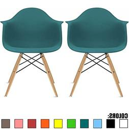 2xhome Set of Two  Teal - Eames Style Armchair Natural Wood