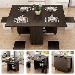 3 IN 1 Folding Dining Table Set Kitchen Storage Trolley Room