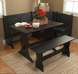 3 pc black wooden breakfast nook dining