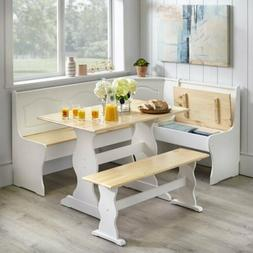 3 pc white wooden top breakfast nook