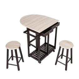 3 PC Wood Breakfast Nook Dining Set Kitchen  Island Rolling