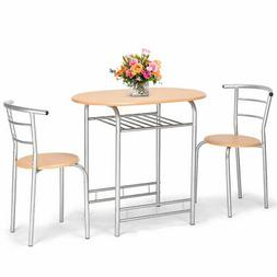3 PCS Bistro Dining Set Table and 2 Chairs Kitchen Pub Home