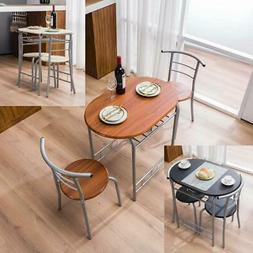 3 PCS Bistro Dining Set Table and 2 Chairs Kitchen Furniture