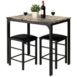 3 PCS Counter Height Dining Set Faux Marble Table 2 Chairs K