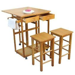 3 Pcs Dining Set Kitchen Island Trolley Cart Rolling 2 Stool