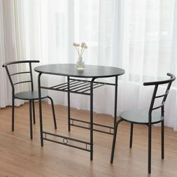 3 pcs Dining Set Table and 2 Chairs Bistro Pub Furniture For
