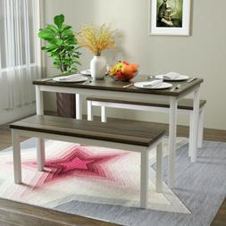 3 PCS Dining Table Set with 2 Benches Pine Wood Kitchen Dini