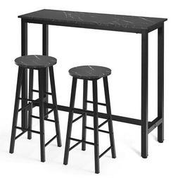 3 PCS Faux Marble Pub Dining Set Bistro Table & 2 Chairs for
