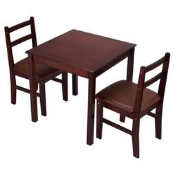 3 PCS Pine Wood Dining Set Kitchen Dinette Table And 2 Chair