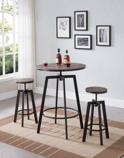 "3-Piece Adjustable Dining Bar / Pub Set, 29"" Round Table Wit"