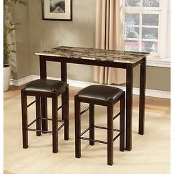 3 Piece Bar Pub Table Dining Set Counter Height Table Chair