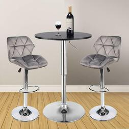3 Piece Bar Table Set Velvet Bar Stools Counter Height Pub K