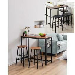 3 Piece Bar Table Set with 2 Stools Bistro Pub Kitchen Dinin