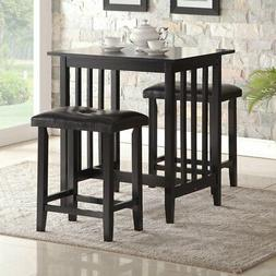 Roundhill Furniture 3 Piece Counter Height Dining Table Set