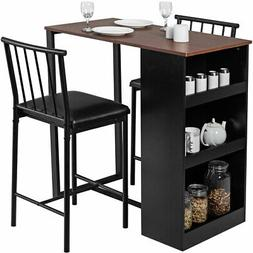 3 Piece Counter Height Pub Dining Set Kitchen Table & Chairs