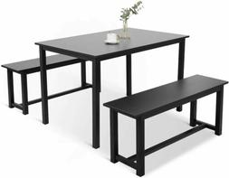 3 Piece Dining Set Table 2 Bench Pub Home Kitchen Breakfast