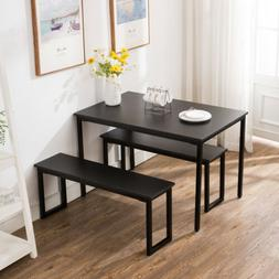 3 Piece Dining Table Set 2 Bench Chairs Wood Rectangle Kitch