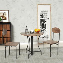 3 Piece Folding Metal Dining Table Set w/ 2 Chairs Round Woo