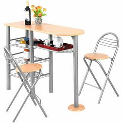 3 Piece Pub Dining Set Counter Height Table and Chairs Set B