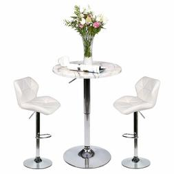 3 Piece Pub Table Set Bar Stool Dining Chairs Adjustable Cou