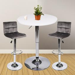 3 Piece Pub Table Set Bar Stools Bistro Adjustable Counter H