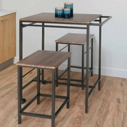 Zenvida 3 Piece Pub Table Set Breakfast Cart With Stools Mob