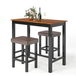 3 Piece Pub Table Set Counter Height Kitchen Dinner Bar Dini