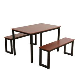 3 Piece Set Dining Table with 2 Kitchen Benches Steel frame