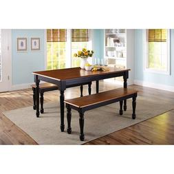 3-piece wooden dining and breakfast table and bench set, fur