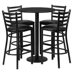 30'' Round Black Laminate Table Set with 4 Ladder Back Metal