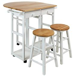 Casual Home 355-21 Drop Leaf Breakfast Cart with 2 Stools-Wh