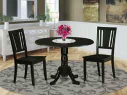 3pc Set, Round Pedestal Kitchen Dining Table With 2 Wood Sea