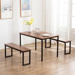 3PC Wood Dining Table and Chairs Set Breakfast Nook Kitchen