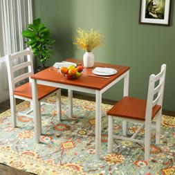 3PCS Dining Table Set 2 Chairs Pine Wood Kitchen Dining Room