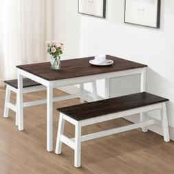 Mecor 3PCS Dining Table Set w/2 Benches Pine Wood Kitchen Ro
