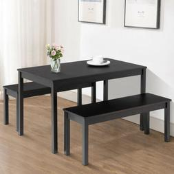 3PCS Dining Table Set w/ 2 Benches Kitchen Dining Room Furni