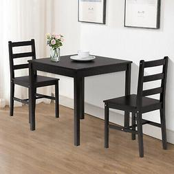 3PCS Dining Table Set w/ 2 Chairs Pine Wood Kitchen Dining R