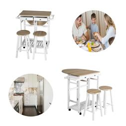 3PCS Dining Wood Table Set with 2 Stools Kitchen Island Trol