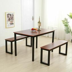 3Piece Wooden Dining Table Set 1pc Table+2pcs BenchesKitchen